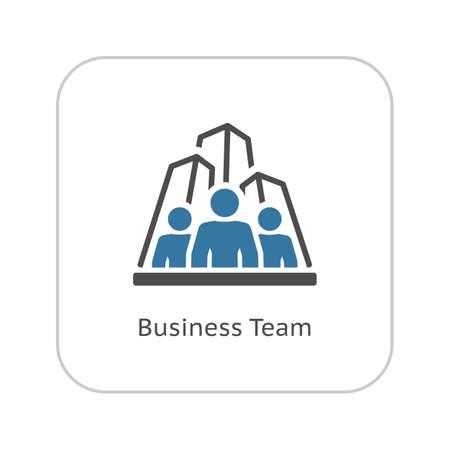 Business-Team Icon. Wirtschaft und Finanzen. Isolierte Illustration. Eine Gruppe von Menschen mit Wolkenkratzern im Hintergrund
