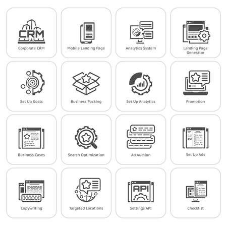 Ensemble du commerce et marketing icônes plates Vecteurs