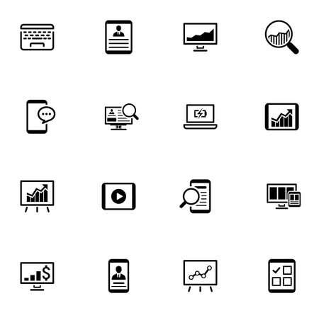 Negocios y finanzas Conjunto de iconos. Diseño plano. Ilustración de vector