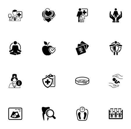 Medical and Health Care Icons Set. Flat Design.