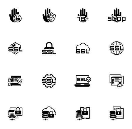 Icone di sicurezza e protezione di progettazione piatta.