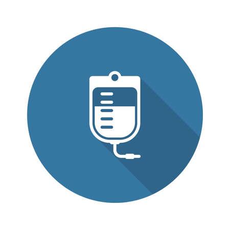 Sac de sang et icône de services médicaux. Design plat. Isolé.