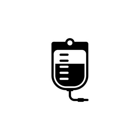 Blood bag and medical services icon. Flat design. Isolated.