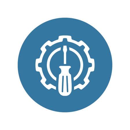 Fine Tuning Icon. Gear and Screwdriver. Service Symbol. Illustration
