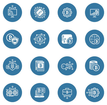 Cryptography and Blockchain Cryptocurrency Icons.