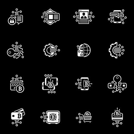 Bitcoin and Block chain Crypto Protection Technology Icons. Illustration