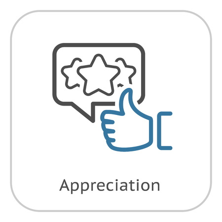Appreciation Line Icon. Client Satisfaction symbol. Customer Relationship Management. Isolated UI element.