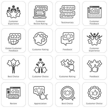 Simple Set of Testimonials Related Vector Icons Vektorové ilustrace