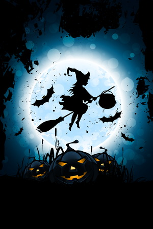 Halloween Background with Whitch and Pumpkin Grass and Bats Illustration