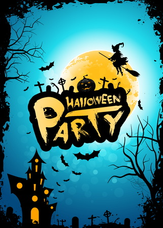 Halloween Party Background with Whitch, Moon and Haunted House