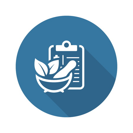 Herbal Medicine Flat Icon Design. Clipboadr with Mortar Pestle. Medical Services