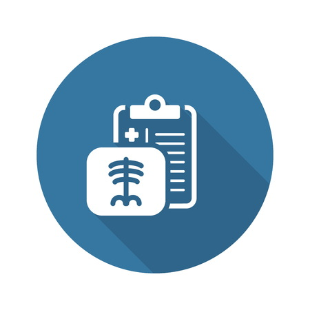 Radiology and Medical Services Flat Icon Design. Clipboard with X-Ray Picture Çizim