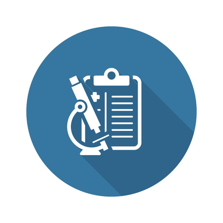 Cytology and Medical Services Flat Icon Design. Clipboard with Microscope Illustration