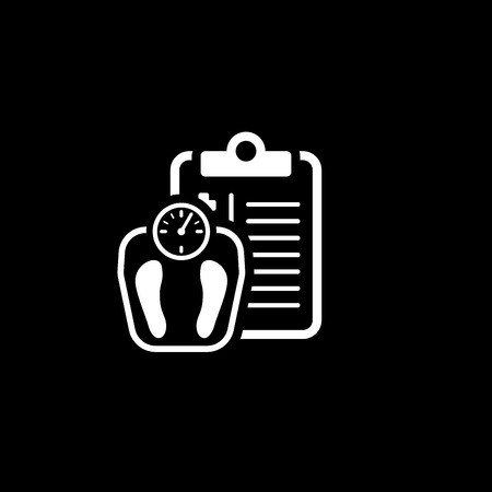 Weight Management and Medical Services Flat Icon Design. Clipboard with Scales