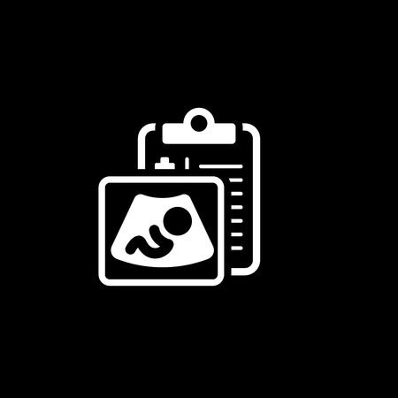 Ultrasonography Flat Icon Design. Clipboard with sonogram. Diagnistic Services