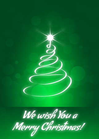 We Wish You a Merry Christmas Greeting Card Abstract Modern Christmas Tree Ilustrace