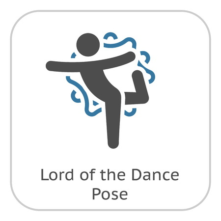 Yoga Lord of the Dance Pose Icon. Flat Design Yoga Poses with Mandala Ornament in Back. Isolated Illustration.