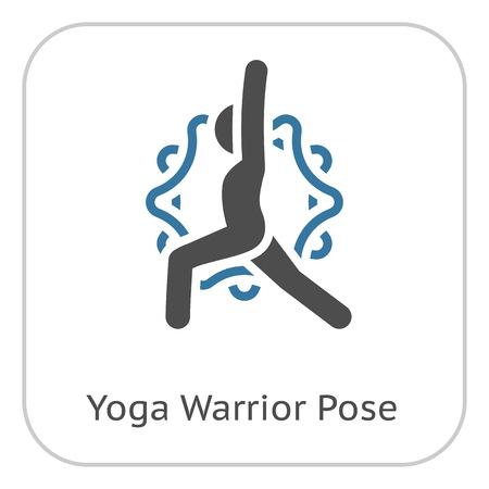 Yoga Warrior Pose Icon. Flat Design Yoga Poses with Mandala Ornament in Back. Isolated Illustration.