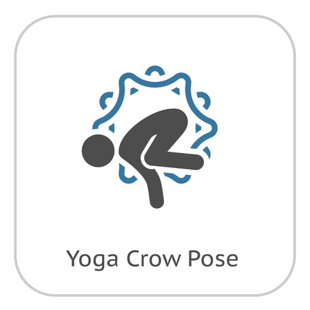Yoga Crow Pose Icon. Flat Design Yoga Poses with Mandala Ornament in Back. Isolated Illustration. Ilustração