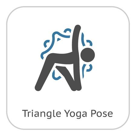 Yoga Triangle Pose Icon. Flat Design Yoga Poses with Mandala Ornament in Back. Isolated Illustration. Stock Illustratie
