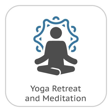 Yoga Retreat and Meditation Icon. Flat Design Yoga Poses with Mandala Ornament in Back. Isolated Illustration. Stock Illustratie