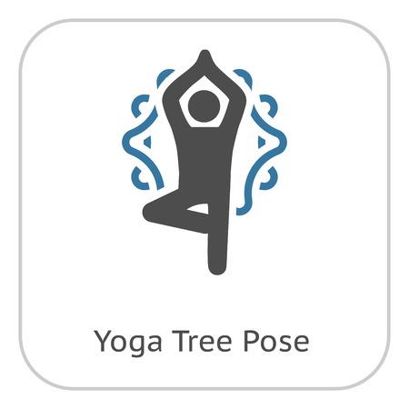 Yoga Fitness Tree Pose Icon. Flat Design Yoga Poses with Mandala Ornament in Back. Isolated Illustration.