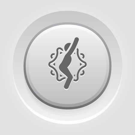 Yoga Chair Pose Icon. Flat Design Yoga Poses with Mandala Ornament in Back. Isolated Illustration. Illustration