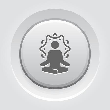 Yoga Retreat and Meditation Icon. Flat Design Yoga Poses with Mandala Ornament in Back. Isolated Illustration.  イラスト・ベクター素材
