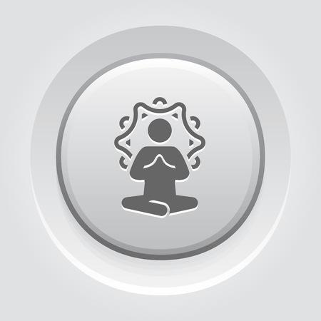 Yoga Meditation Icon. Flat Design Yoga Poses with Mandala Ornament in Back. Isolated Illustration.