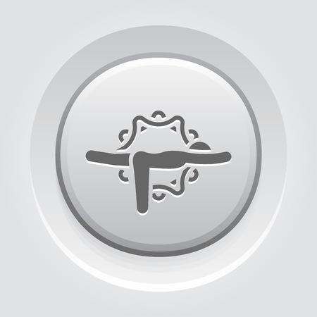 Yoga Warrior III Pose Icon. Flat Design Yoga Poses with Mandala Ornament in Back. Isolated Illustration.