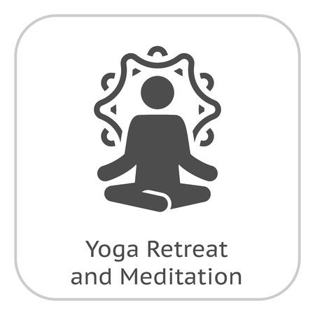 Yoga Retreat and Meditation Icon. Flat Design Isolated Illustration. Stock Illustratie