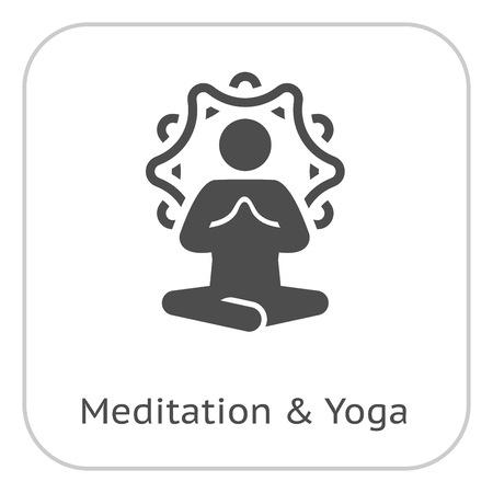 Yoga Meditation Icon. Flat Design Isolated Illustration.