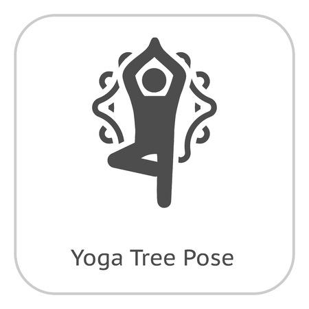 Yoga Fitness Tree Pose Icon. Flat Design Isolated Illustration.