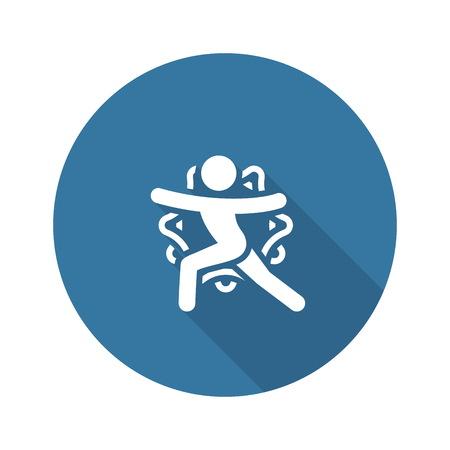 Yoga Warrior II Pose Icon. Flat Design Isolated Illustration.