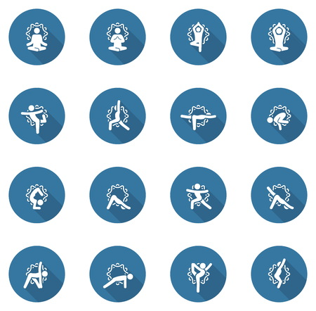 Yoga Fitness and Meditation Icon Set. Flat Design Yoga Poses with Mandala Ornament in Back. Isolated Illustration.