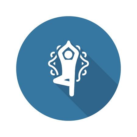 Icono de pose de árbol de fitness de yoga. Ilustración aislada de diseño plano.