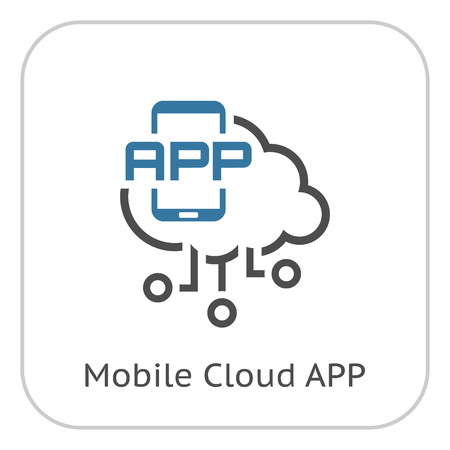 Simple Mobile Cloud APP Vector Line Icon with mobile smartphone device. Stock Illustratie