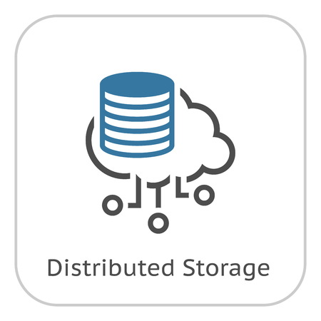 Simple Distributed Storage Vector Line Icon with storage devices. Stock Illustratie