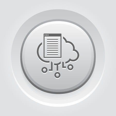 Simple Cloud Documents Vector Button Icon with open online document.