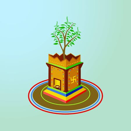 Creative vector graphics of the holy plant with lot of green leaves in a very well decorated traditional pot.
