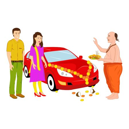 Creative design of Indian priest performing the prayer for the new Indian couple and the new car in a very traditional style.