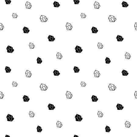 Crystal seamless pattern, black and white hand-drawn gem doodle digital paper, abstract crystals repeating background, the monochrome grain vector wallpaper, cute gravel decorative element
