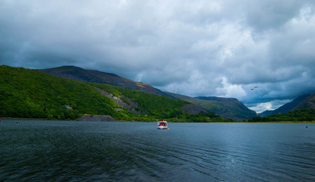 THE MAGICAL LLIANBERIS LAKE, NORTH WALES. Stock Photo