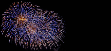 Fireworks display at bonfire 4th of November celebration, Kenilworth Castle, UK.