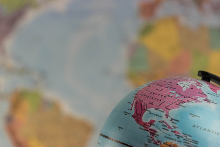 The United States of America on the map globe with blurred map as background Editorial