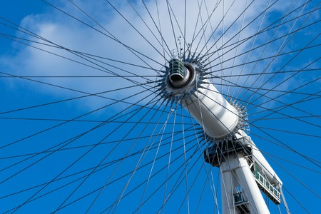 LONDON, UK - October 17th, 2017: Close up of the London Eye in London, England with a view of the rotational axis.