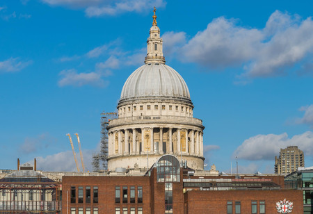 St. Pauls Cathedral view from Thames river. Stock Photo