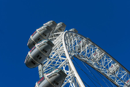 LONDON, UK - October 17th, 2017: Close up of the London Eye in London, Great Britain with tourist holding capsule in view.
