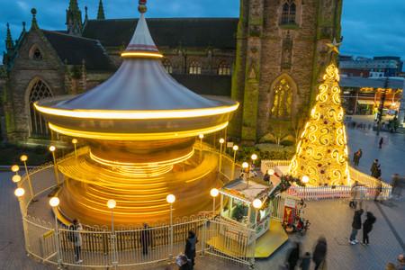 Birminghamm, UK - December 24th, 2017 : Blurred motion during city centre christmas celebrations.