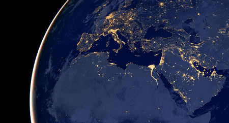 Middle east, west asia, east europe lights during night as it looks like from space.